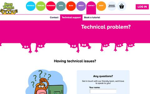Screenshot of Support Page busythings.co.uk - Help And Technical Support | Busy Things - captured Oct. 7, 2018