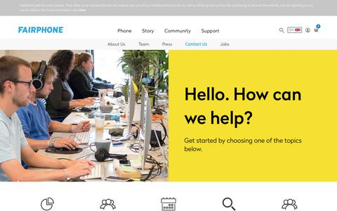 Screenshot of Contact Page fairphone.com - Contact Us - Fairphone - captured July 6, 2017