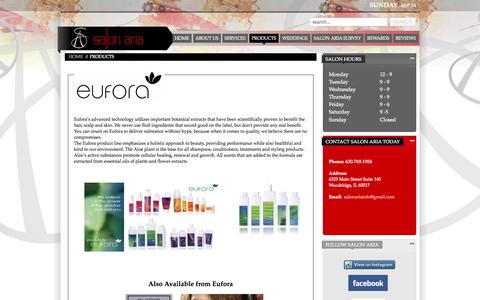 Screenshot of Products Page salonaria.net - Salon Products - captured Sept. 30, 2014
