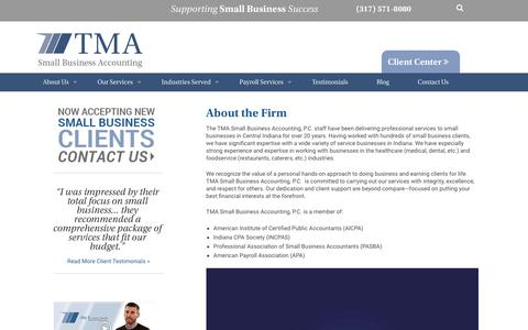 Screenshot of About Page tmasmallbusinessaccounting.com - About TMA Small Business Accounting, P.C. | Indianapolis, IndianaTMA Small Business Accounting, P.C. - captured Sept. 5, 2017