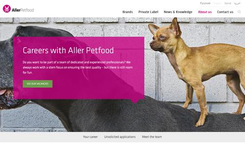 Screenshot of Jobs Page aller-petfood.com - A career with Aller Petfood is your opportunity for personal development - captured Oct. 3, 2018