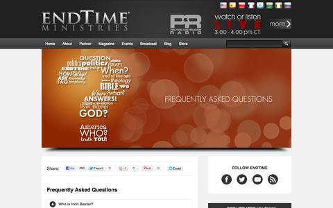 Screenshot of FAQ Page endtime.com - Frequently Asked Questions | Endtime Ministries with Irvin Baxter - captured Sept. 22, 2014