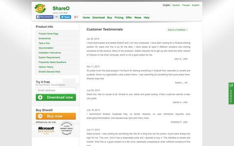 Screenshot of Testimonials Page shareo.com - ShareO Customer Testimonials. Share Outlook Calendar and Contacts - captured June 4, 2016