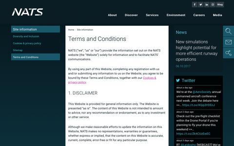 Screenshot of Terms Page nats.aero - Terms and Conditions - NATS - captured Oct. 17, 2017
