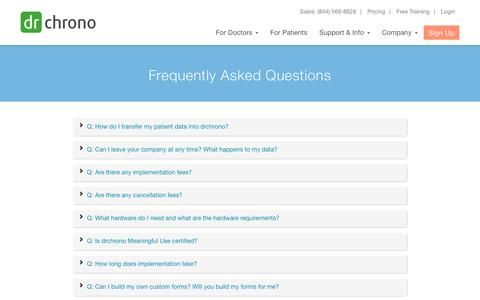 Screenshot of FAQ Page drchrono.com - Frequently Asked Questions | drchrono - captured May 12, 2016