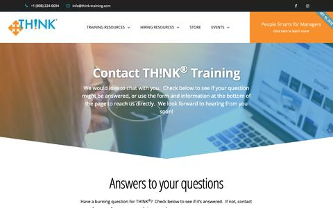 Screenshot of Contact Page FAQ Page think-training.com - Contact TH!NK Training, Hawaii's Training and Hiring Resource Leader - captured Oct. 18, 2018