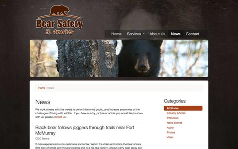 Screenshot of Press Page bearsafety.com - News | Bear Safety & More - captured Oct. 5, 2014