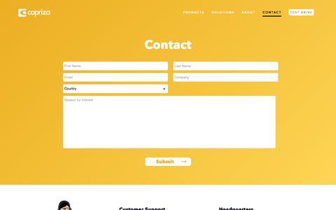 Screenshot of Contact Page capriza.com - Contact | Capriza - captured May 12, 2018
