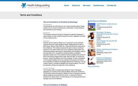 Screenshot of Terms Page healthsafeguarding.com - Terms and Conditions | Health Safeguarding - captured Dec. 8, 2015