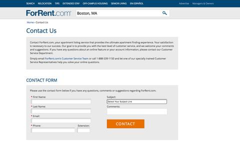 Screenshot of Contact Page forrent.com - Contact Us - ForRent.com - captured Nov. 24, 2015