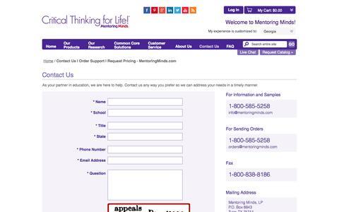 Screenshot of Contact Page mentoringminds.com - Contact Us   Order Support   Request Pricing - MentoringMinds.com - captured Nov. 1, 2014