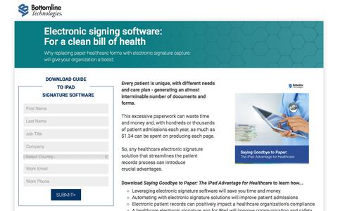 Screenshot of Landing Page bottomline.com - Electronic signing software - replace paper forms with electronic signature capture - captured April 4, 2017