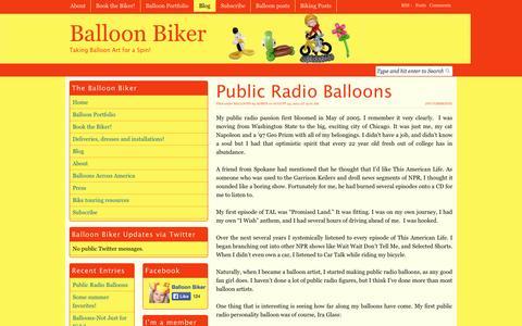 Screenshot of Blog balloonbiker.com - Balloon Biker|Taking Balloon Art for a Spin! - captured Sept. 30, 2014