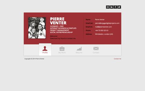 Screenshot of Home Page pierreventer.com - Pierre Venter - captured Oct. 2, 2014