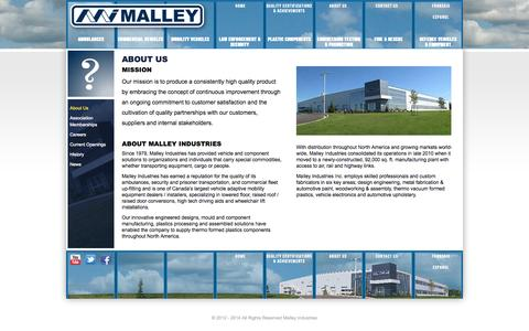 Screenshot of About Page malleyindustries.com - About Us - captured Oct. 4, 2014