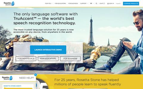 Screenshot of Home Page rosettastone.com - Official Rosetta Stone® - Language Learning - Learn a Language - captured Sept. 7, 2017