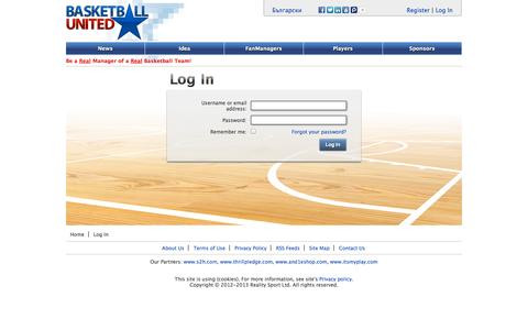 Screenshot of Login Page basketball-united.com - Basketball-United.com - captured Oct. 6, 2014