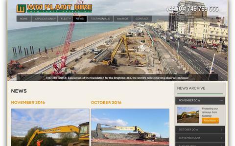 Screenshot of Press Page wmplanthire.com - News - WM Plant Hire - captured Dec. 3, 2016