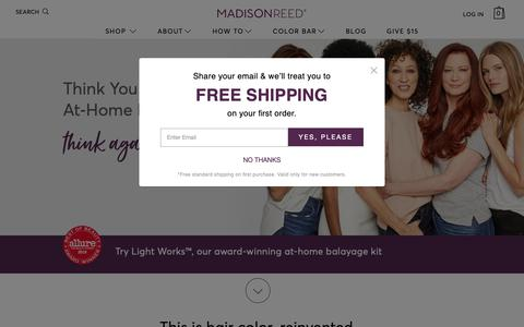 Screenshot of Home Page madison-reed.com - Professional Hair Color at Home from Madison Reed - captured Nov. 2, 2018