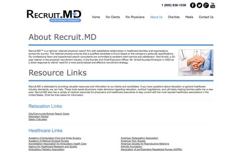Screenshot of About Page recruit.md - Valuable Healthcare Resources and Relocation Assistance for Clients & Candidates | Recruit.MD™ - captured Sept. 25, 2014