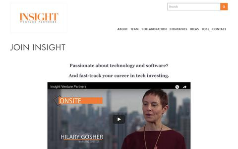 Screenshot of Jobs Page insightpartners.com - Join Insight | Insight Venture Partners - captured Aug. 28, 2017
