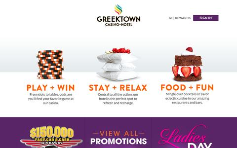Screenshot of Home Page greektowncasino.com - Greektown Casino - captured Oct. 3, 2014
