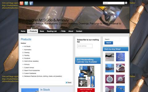 Screenshot of Products Page studioarmoury.com - Products » Haidner Art Studio & Armoury - captured Oct. 1, 2014