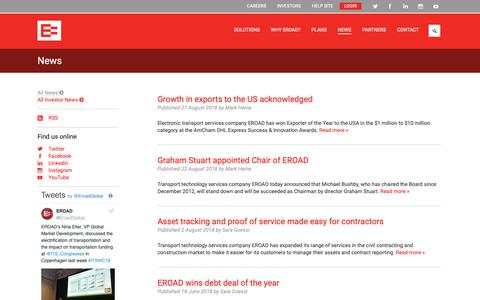 Screenshot of Press Page eroad.co.nz - Latest RUC, health and safety and fleet tracking news  | EROAD - captured Sept. 26, 2018