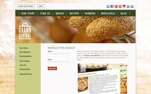 Screenshot of Signup Page grandcentralbakery.com - Newsletter Signup - Grand Central Bakery - captured Sept. 9, 2018