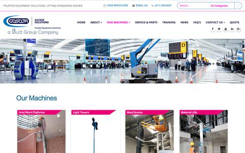Screenshot of Products Page goscoraccesssolutions.co.za - Access Equipment Hire & Sale | Products | Goscor Access Solutions - captured Oct. 25, 2018