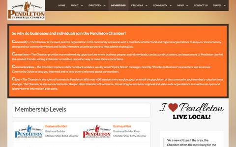 Screenshot of Signup Page pendletonchamber.com - Membership - captured Sept. 27, 2018