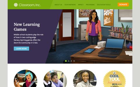 Screenshot of Home Page classroominc.org - Home - Classroom Inc. - captured Sept. 28, 2015