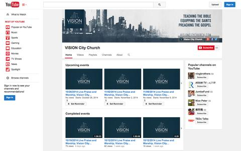Screenshot of YouTube Page youtube.com - VISION City Church  - YouTube - captured Oct. 25, 2014