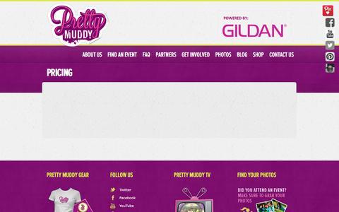Screenshot of Pricing Page prettymuddywomensrun.com - Pretty Muddy Mud Race Pricing - captured Nov. 11, 2016