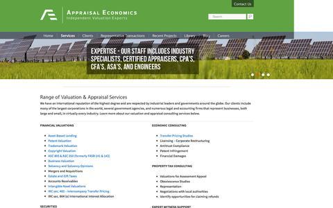 Screenshot of Services Page appraisaleconomics.com - Valuation & Appraisal Consulting Services - Appraisal Economics - captured Feb. 6, 2016