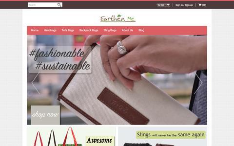 Screenshot of Home Page earthenme.com - Earthen Me | Eco-Fashion Lifestyle Brand - captured Dec. 6, 2015