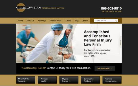 Screenshot of Home Page gillislawfirm.com - New Haven CT Personal Injury Lawyers | Free Consultation - captured July 18, 2018