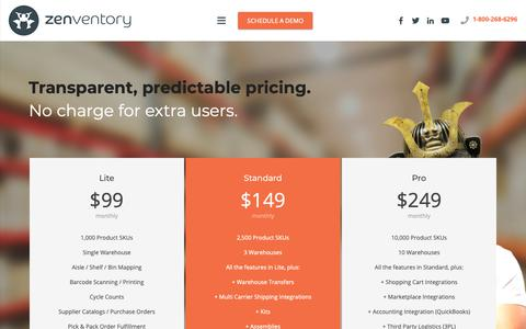 Screenshot of Pricing Page zenventory.com - Inventory Management Software | Pricing | Inventory Tracking - captured Oct. 22, 2018