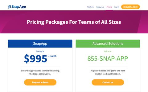 Screenshot of Pricing Page snapapp.com - Pricing Packages For Teams of All Sizes - SnapApp - captured Feb. 17, 2019