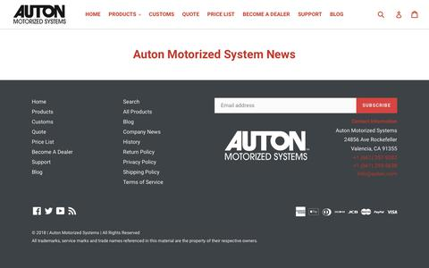 Screenshot of Press Page auton.com - Auton Motorized System News - captured Oct. 4, 2018