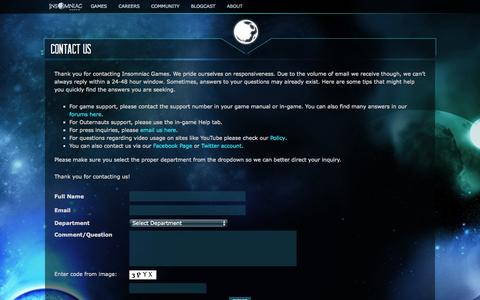 Screenshot of Contact Page insomniacgames.com - Contact Us | Insomniac Games - captured Sept. 19, 2014
