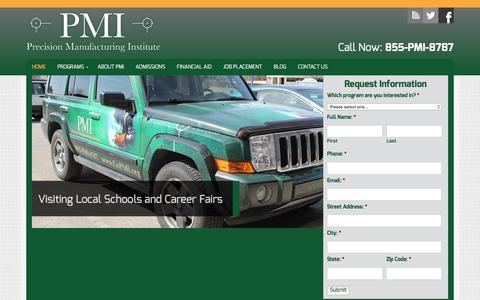 Screenshot of Home Page pmionline.edu - Manufacturing Technical School - captured Jan. 30, 2016