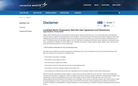 Screenshot of Privacy Page Terms Page lockheedmartin.com - Disclaimer · Lockheed Martin - captured Oct. 31, 2014