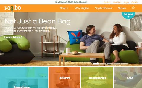 Screenshot of About Page yogibo.com - Bean Bags that become a Chair, Bed, Sofa or Recliner - captured Nov. 2, 2014