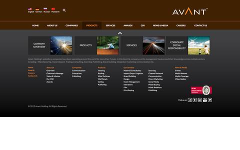Screenshot of Products Page avantholding.com - Products - Avant Holding - captured Dec. 27, 2015