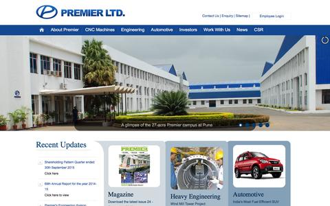 Screenshot of Home Page premier.co.in - Welcome to Premier Ltd. - captured Jan. 31, 2016