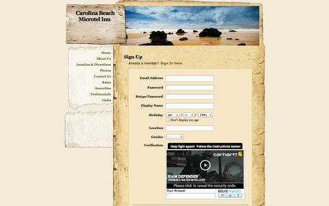 Screenshot of Signup Page webs.com - Signup - Carolina Beach Microtel Inn - captured Oct. 27, 2014