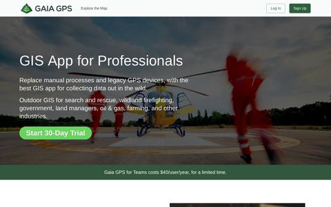 Screenshot of Team Page gaiagps.com - GIS App for Search and Rescue, Firefighters, and Land Managers | Gaia GPS - captured Nov. 16, 2018
