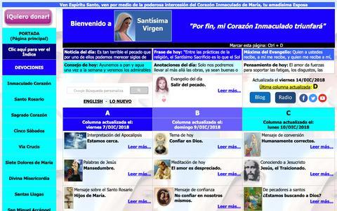 Screenshot of Home Page santisimavirgen.com.ar - Santísima Virgen - Sitio de María - Oraciones, devociones, mensajes,  sacramentos, sacramentales, catecismo, Biblia, promesas, revelaciones y mucho  más - captured Dec. 15, 2018