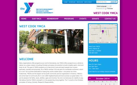 Screenshot of About Page Hours Page westcookymca.org - West Cook YMCA - West Cook YMCA - captured Oct. 25, 2014